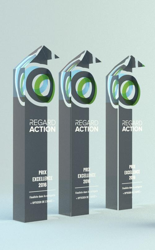 Création de trophées, Regard Action, Design trophées, trophées en acrylique, impression trophées