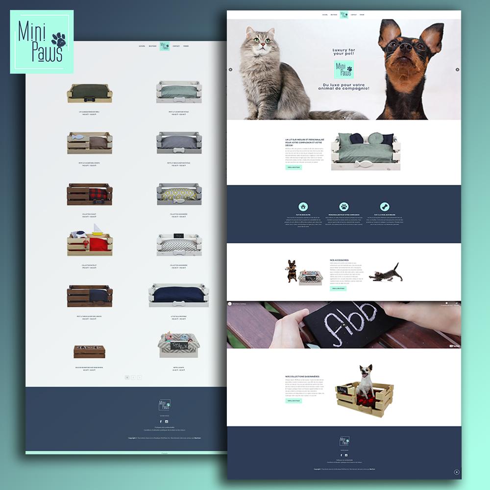 MiniPaws - Site internet WooCommerce par BeeCom - Lits pour chats et chiens sur mesure